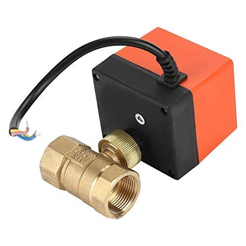 Válvula de bola motorizada G3/4, DN20 AC 220V 1.6MPa 6W Válvula de bola motorizada de latón Válvula eléctrica de 2 vías Control de 3 hilos y 1 punto Ampliamente utilizado en sistemas de calefacción y