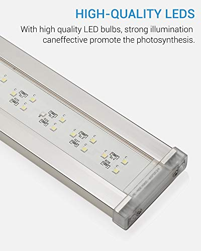 NICREW BrightLED Aquarium Light, Full Spectrum Fish Tank Light for Planted Tanks, 20 to 24-inch, 18-Watt, 1200 LM, 7500K