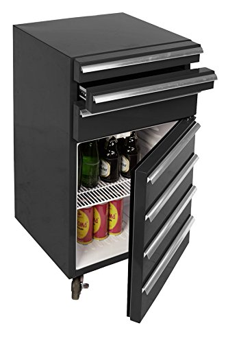 Mini-Kühlschrank für Getränke im retro Werkstattwagen-Look | schwarz, fahrbar, innovativ, stromsparend | exklusiver Bierkühlschrank auf Rollen ohne Gefrierfach | Gastro Cool | 3-Schubladen - 3