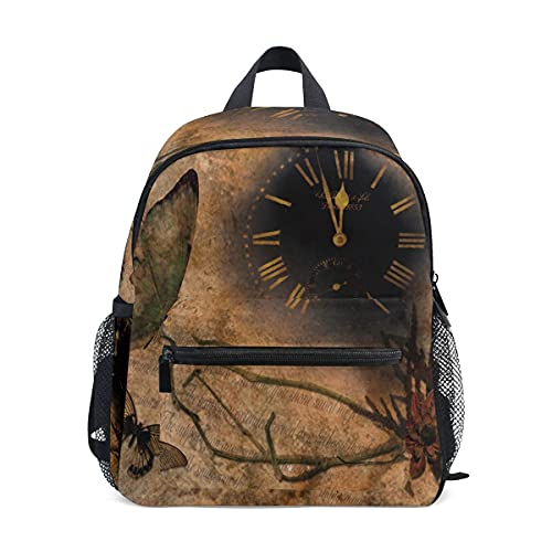 VJSDIUD Mochila Reloj Mariposas Flor Retro Estampado Marrón Mochilas Escolares Niño Niña Mochila