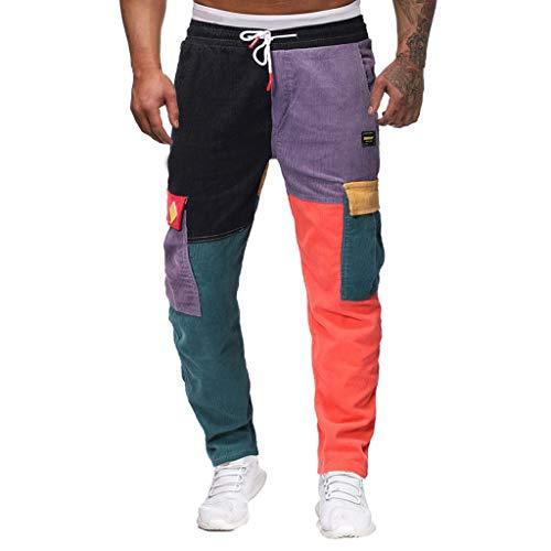 Herren Bunte Hosen Hip Hop Hosen Freizeithosen Sport Jogginghose Vintage Hosen für Männer Kontrastfarbe Patchwork Sport Hose Cargo Chino Hose Sweatpants