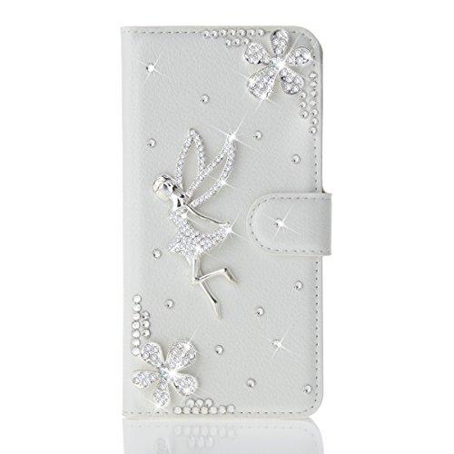 fitmore Huawei Ascend Mate S Hülle, Ultra dünn PU-Leder Strass Diamant Stoßfest Schutzhülle Hülle Glitzer Bling Sparkles Schale Case - 2