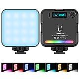 opamoo RGB Luce Fotocamera, Luce video RGB mini luce della fotocamera LED ricaricabile a 360 ° a colori, attrazione magnetica di supporto, pannello LED dimmerabile 2500K-9000K con display LCD.