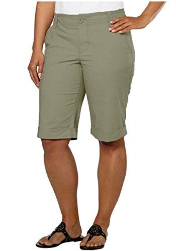 DKNY Jeans Women's Bermuda Walking Shorts (4, Military Green)