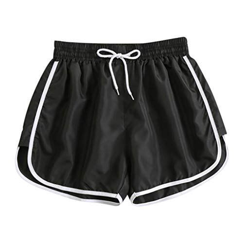 Great Price! Workout Shorts for Women - Middle Waist Patchwork Color Drawstring Shorts - Athletic Wo...