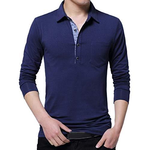 MRULIC Herren Frühling Lässige Mode Langarm Revers Shirt Umlegekragen Hemd Baumwolle T-Shirt Long Sleeve Tops Bluse(Blau,EU-XL/CN-2XL)
