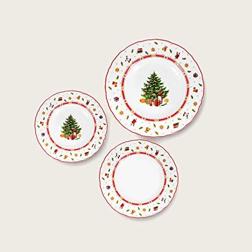 Maison Tortorà - Set 18 Piatti Natalizi in Porcellana, Decoro ALbero di Natale