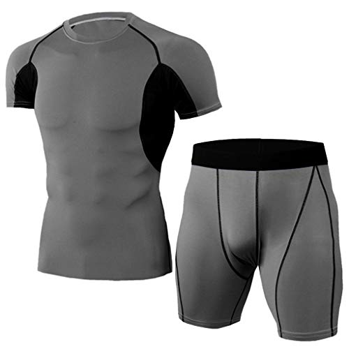 Yowablo Herren Fitness T-Shirt Radfahren Jerseys Kompressionsshirt Base Layer Pants Set Elastic Fitness T-Shirt Fast Drying Tops Kurze Hose Sport Enger Anzug (L,2Dunkelgrau)