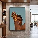 Indian Golden Hand Man HD Pintura en Aerosol Sala de Estar Decoración Mural Pintura en Lienzo 50x70cm Sin Marco