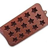 Ndier - Stampi in silicone per biscotti, 15 cavità, 3D, a forma di stella 3D, per decorare fondente, per cioccolatini, fai da te, utensili da cucina