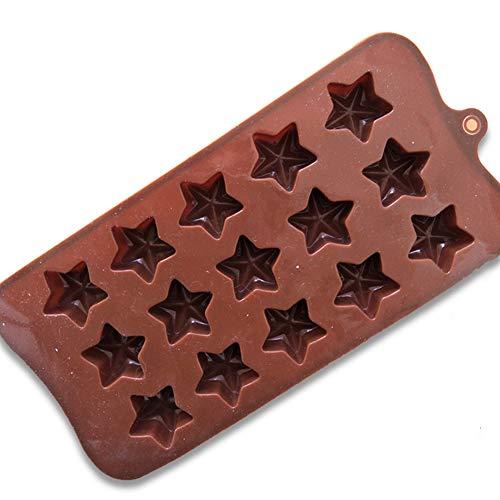 Ndier Silicon Plätzchen Formen 15Cavity 3D Stern Form Fondant Dekoration Werkzeuge Schokoladen Form DIY Backen Werkzeug Home Made Weihnachts Biskuit Form Küchenzubehör