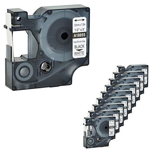 Nineleaf 10 PK-kompatibel für DYMO 18055 Rhino-Schrumpfschlauch Industrie-Etikettenband 1/2