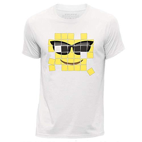 STUFF4 Heren Medium (M) Wit Ronde hals T-Shirt/Oud Mozaïek/Gereedschap Emoticon
