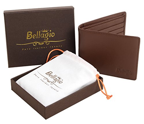 Premium Leather Wallet for Men in Gift Box - Bifold Design with RFID Protection - Ideal Gift for Men - Black or Brown
