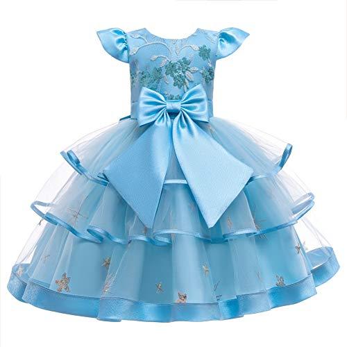 JTSYUXN Blumenmädchen Kleid Prinzessin Ärmellos Stickerei Tüll Abendkleid Girl...
