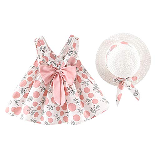 Julhold Toddler Baby Kids Girl Cute Leisure Sleeveless Strap Dot Print Bow Princess Cotton Dresses Hat 2019New 1-3 Years Pink