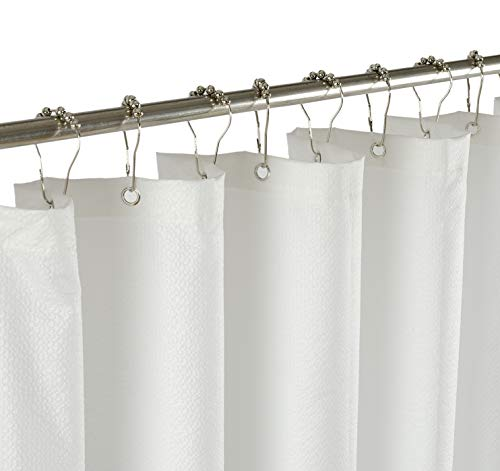 Mrs Awesome Water-Repellent Soft Feeling Embossed Microfiber Shower Curtain Liner 70 x 72 inches, Non Toxic, Eco-Friendly, No Chemical Odor, White