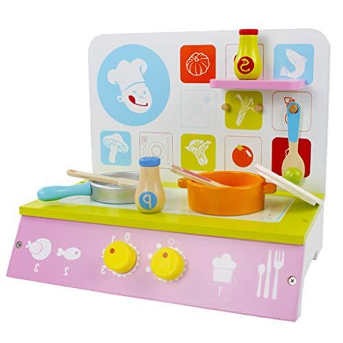 Homyl Holz Küchenherd + Topf + Pfanne usw. Kochutensilien Set Kinderküche Spielzeug
