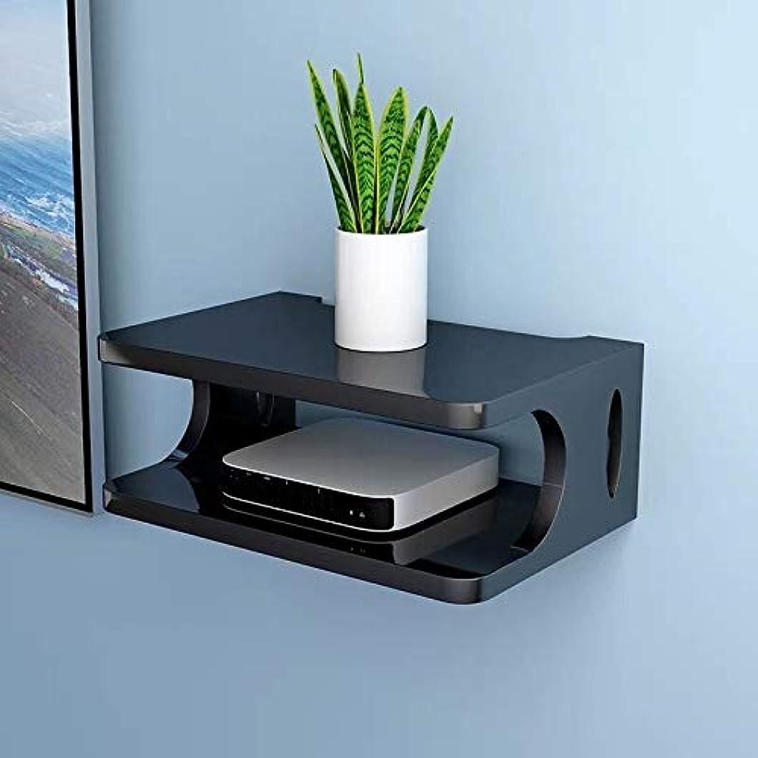 ラインナップ放射性落ちたSUON フローティング棚木製セットトップボックスシェルフリビングルームの壁ルームルータプロジェクターストレージボックス30x20x10cmラック フローティングシェルフ (Color : Black)