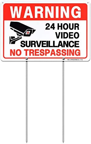 MUXYH Video Surveillance Sign with Metal Stakes 12 X 9 Aluminum No Trespassing Warning Sign product image