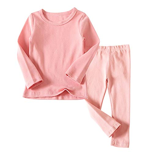 JWWN Little Kids Long Johns Thermal Underwear Set 2PC Crewneck Tops and Bottom Toddler Boys Girls Pajamas Warm Jammies,(Pink,24Months), Light Pink, 24 Months