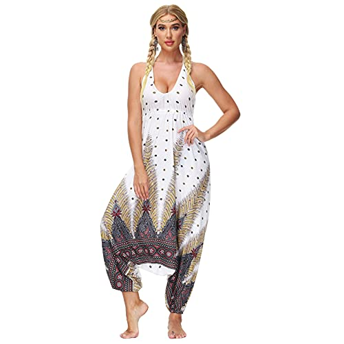 TEVEQ Rompers for Women Casual V-Neck Jumpsuit Loose Playsuit Yoga Gypsy Jogging Harem Pants Baggy Palazzo Trousers(White,L)