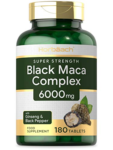 Black Maca Complex 6000mg | 180 Vegan Tablets | Black Maca, Maca Root, Panax Ginseng & Black Pepper | Non-GMO, Gluten Free Supplement