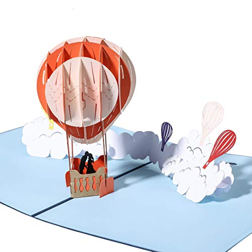 Handmade 3D Pop Up Cards Greeting Card for Your Loved Ones, Wedding Anniversary Card for Couple, Valentine Day, Happy Birthday Cards (hot air balloon)