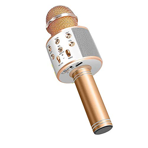 Wireless Bluetooth Karaoke Microphone,4 in 1 Portable Handheld Mic Speaker for Company Meeting Kids Home KTV Party,Compatible with Android & iOS,Perfect Birthday & Christmas Gift(Gold)