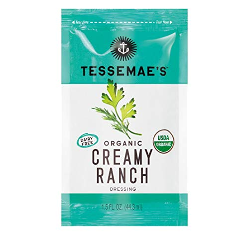 Tessemae's Organic Creamy Ranch Dressing Single Serve Packets, Whole30 Certified, Keto Friendly, USDA Organic, 1.5 fl oz. Packets (Pack of 24)