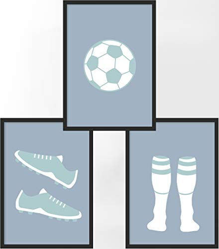 Kinderposter 3er-Set | 3X DIN A4 Poster | Jungen & Mädchen | Kunstdruck fürs Kinderzimmer | Motiv: Fußball