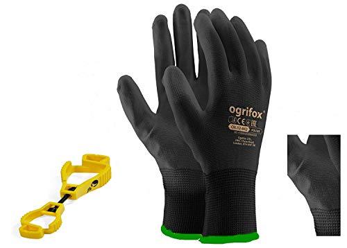 24 paar PU gecoate werkhandschoenen Tuinieren Mechanische en FH clip handschoen houder, Perfecte combinatie met zakloze broek, pak vuile handschoenen, sleutels, S-48, 1