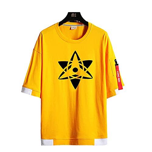 FMBK666 Naruto Kaleidoscope Sharingan Camiseta de Manga Corta para Hombre para Amantes del Anime Jersey Transpirable de Verano