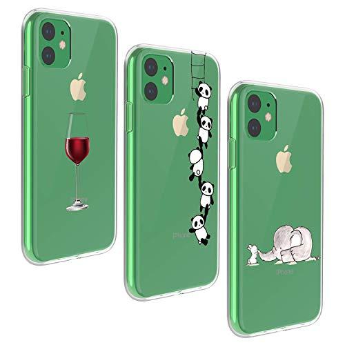 Oihxse Carcasa de repuesto para iPhone 11, carcasa de silicona ultra fina, transparente, delgada, de TPU, carcasa para teléfono móvil de 11 a 6,1 pulgadas, en total tres (8 A)