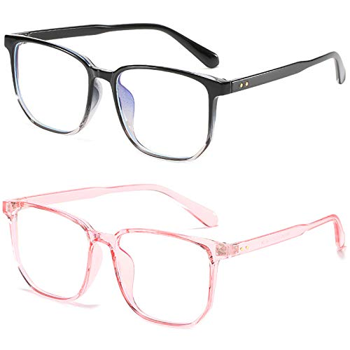 Bias&Belief Pack de 2 Gafas con Bloqueo de luz Azul Gafas para Juegos de computadora TR Montura Cuadrada Montura de anteojos Gafas para Juegos Anti-Fatiga Ocular para Mujeres y Hombres,E
