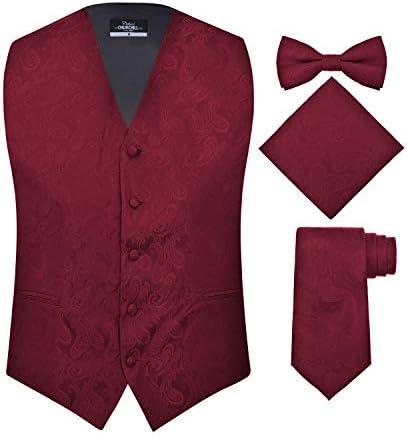 S H Churchill Co Men s 4 Piece Paisley Vest Set with Bow Tie Neck Tie Pocket Hanky M Burgundy product image