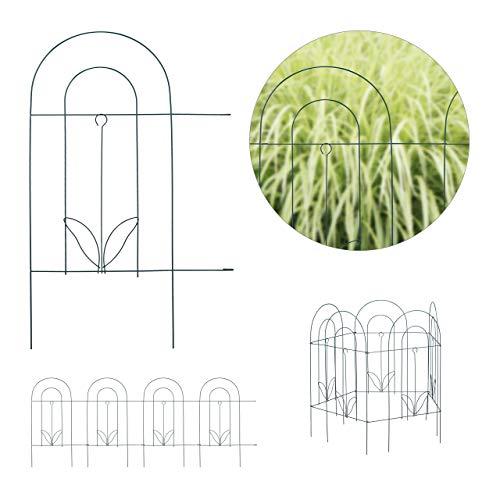 Relaxdays Beetzaun, 5-teilige Beetumrandung für Garten, Dekozaun aus Metall, zum Stecken, HxB: 62 x 244 cm, grün