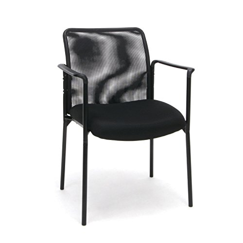 OFM Essentials Collection Mesh Back Upholstered Side Chair with Arms in Black