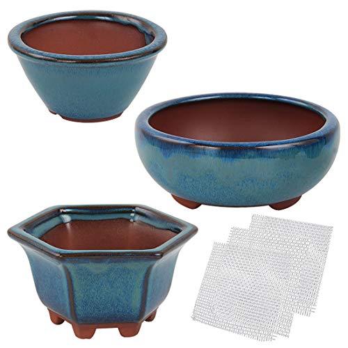 kilolfy Happy Bonsai 3pc Small Glazed Pots Value Set + 3 Soft Mesh Drainage Screens