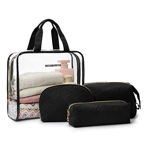 4 Pcs Cosmetic Bag, LIGHT FLIGHT Women Cosmetic Makeup Organizer Bag Set Portable Travel Cosmetic Bags (Black)
