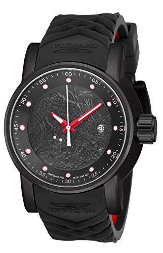 Invicta Relógio masculino automático japonês de aço inoxidável com pulseira de silicone, preto, vermelho, 24 (modelo: 18213)
