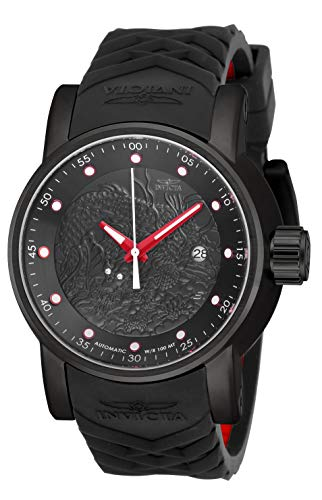 Invicta Men's Rally Stainless Steel Japanese Automatic Watch with Silicone Strap, Black, Red, 24 (Model: 18213)