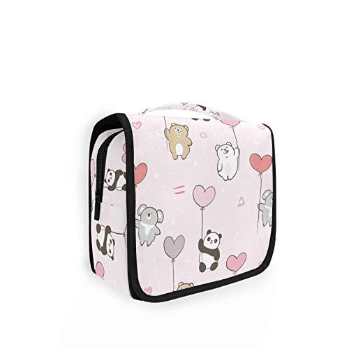 Large Hanging Toiletry Bag Cute Cartoon Bear Koala Panda Balloon Design Makeup Cosmetic Bag Bathroom Shower Bag Travel Organizer with Hook