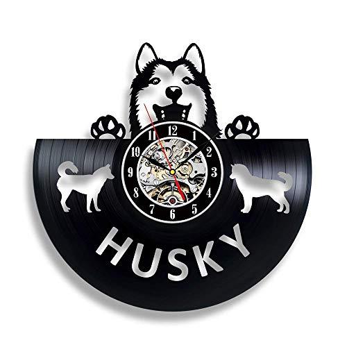 Strnry wandklok van vinyl Husky Dog Pet Lovers geschenk vintage geluidsplaat wandklok wooncultuur muur decor vinyl klok