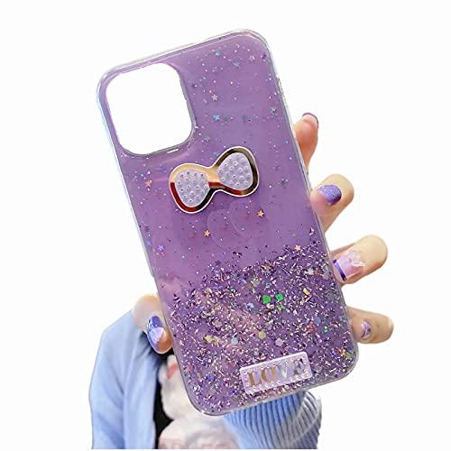 TYWZ Brillant Coque pour Huawei P Smart 2021,Silicone Glitter Sparkle Étoile Bling Transparent Cover Gel Soft Etui Flexible Case pour Fille Femmes-l'amour Nouer,Violet