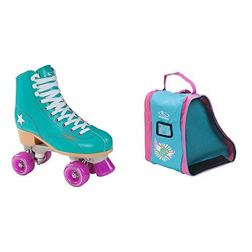 Hudora Disco Rollerskates Unisex Rollschuh, Grün/Lila, 39, 13185 & Rollschuh-Tasche Kinder, Skater-Tasche Skate Wonders, 29951, M