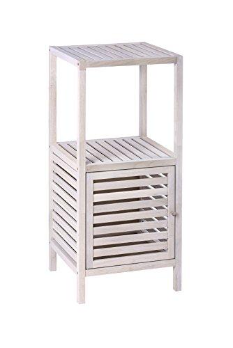 WENKO Norway 22863100Shelf Unit with Door, Walnut, Natural White, White, White Washed, 35x 39x 5x 86cm