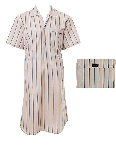 AdoniaMode Herren Nachthemd Sleepshirt Fein-Batist Kurzarm Beige gestreift Gr.46