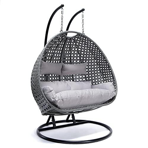Home Deluxe - Polyrattan Hängesessel - Twin grau mit Regenabdeckung - inkl. Gestell, Sitz- und Rückenkissen | Hängestuhl Gartenschaukel Hängekorb