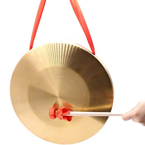 Frideko 12.6 Inches (32cm) Bronze Chau Gongs, Chinese Copper Feng Gong with wooden Beater
